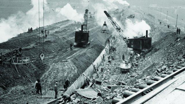 Der Bau der Bavertalsperre. Foto: Wupperverband.